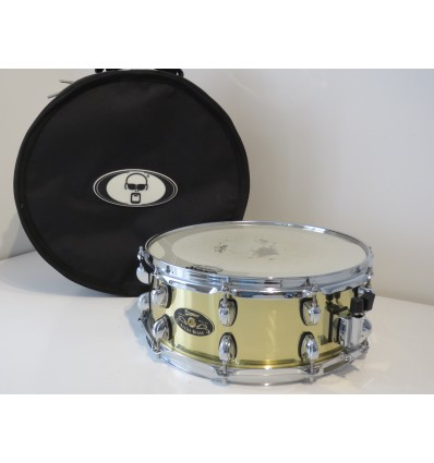 """Premier 14"""" x 5.5"""" Artist Brass Snare Drum with Protection Racket Gig Bag"""