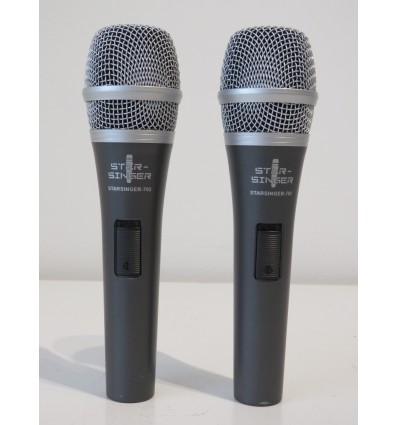 Star Singer 702 Karaoke Mics Switched Vocal Microphones - Pair